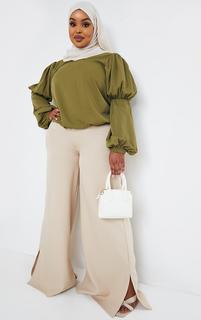 PrettyLittleThing - Plus Khaki Chiffon High Neck Frill Sleeve Blouse, Green