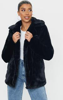PrettyLittleThing - Black Soft Faux Fur Biker Jacket, Black