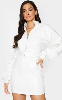 PrettyLittleThing - White PU Funnel Neck Zip Front Cropped Jacket, White