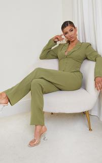 PrettyLittleThing - Olive Woven Corset Waist Detail Hook & Eye Cropped Blazer, Green