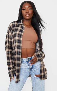 PrettyLittleThing - Tall Chocolate Checked Oversized Shirt, Chocolate