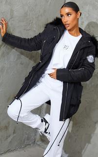 PrettyLittleThing - Black Nylon Faux Fur Hooded Parka Jacket, Black