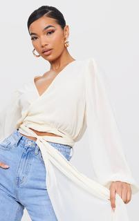 PrettyLittleThing - Nude Chiffon Extreme Waist Tie Cropped Blouse, Pink