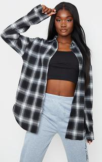 PrettyLittleThing - Tall Black Checked Oversized Shirt, Black
