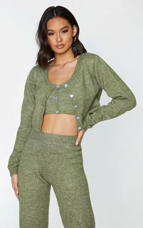 PrettyLittleThing - Olive Cozy Knit Button Up Cardigan, Green