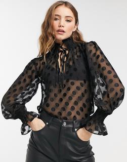 VIOLET ROMANCE - Hochgeschlossene Bluse mit Schleife und Punktemuster-Schwarz