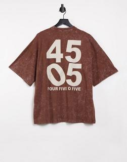 ASOS 4505 - Unisex – Oversize-T-Shirt in Acid-Waschung-Braun