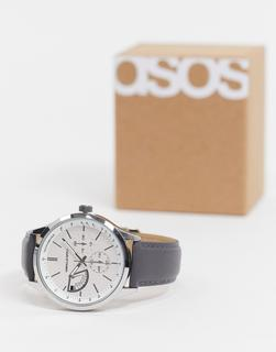 ASOS DESIGN - Klassische silberfarbene Armbanduhr mit grauem Armband