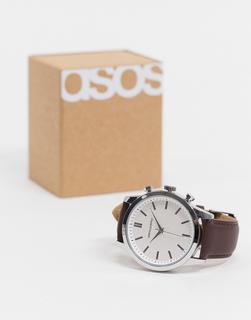 ASOS DESIGN - Klassische silberfarbene Armbanduhr mit braunem Armband