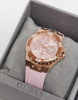 guess - Armbanduhr mit rosafarbenem Armband