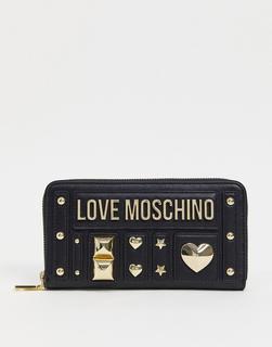 Love Moschino - Love and More – Mit Nieten besetzte Geldbörse in Schwarz