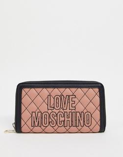Love Moschino - Gesteppte Geldbörse mit kontrastierenden Nähten in Hellrosa