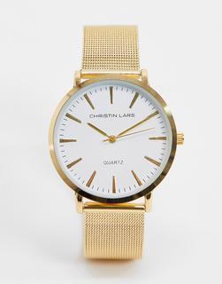Christin Lars - Goldene Armbanduhr mit weißem Zifferblatt
