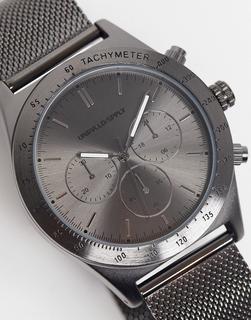 ASOS DESIGN - Stahlgraue Uhr mit Netzarmband aus Edelstahl und sportlichem Detail-Silber