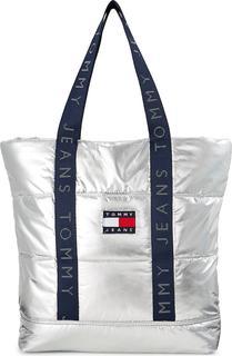 Tommy Jeans - Shopper Tjw Heritage Puffer in silber, Shopper für Damen