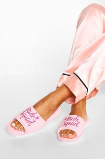 boohoo - Womens Bride Squad Slippers In A Bag - Pink - S, Pink