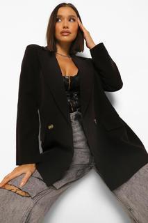boohoo - Womens Eng Anliegender Blazer In Übergröße Aus Webstoff Mit Tasche - Schwarz - 40, Schwarz