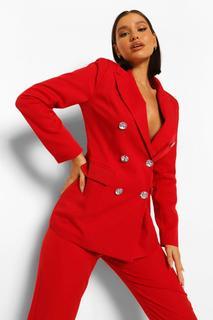 boohoo - Womens Eng Anliegender Blazer Mit Strassknöpfen - Rot - 38, Rot