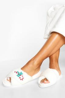 boohoo - Womens Candy Cane Applique Slippers - White - L, White