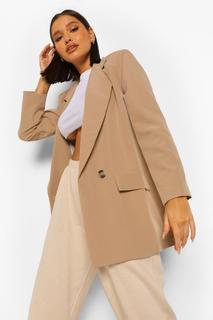 boohoo - Womens Eng Anliegender Blazer In Übergröße Aus Webstoff Mit Tasche - Steingrau - 40, Steingrau