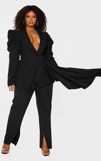 PrettyLittleThing - Plus Black Woven Lapel Side Button Puff Sleeve Blazer, Black