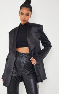 PrettyLittleThing - Black Satin Shawl Lapel Extreme Shoulder Padded Blazer, Black