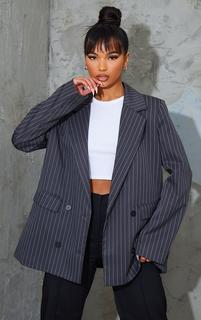PrettyLittleThing - Grey Woven Pinstripe Single Breasted Shoulder Padded Blazer, Grey