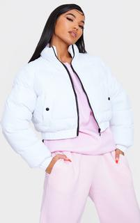 PrettyLittleThing - White Cropped Bubble Zip Detail Puffer Jacket, White