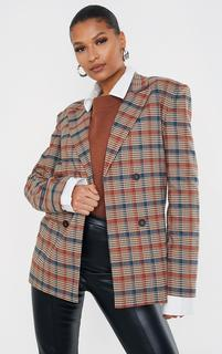 PrettyLittleThing - Brown Checked Woven Grandad Shoulder Padded Four Button Blazer, Brown