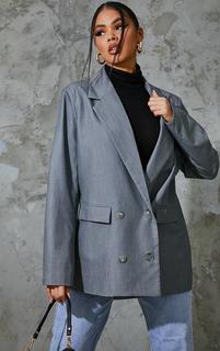 PrettyLittleThing - Grey Woven Grandad Double Breasted Shoulder Padded Blazer, Grey