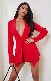 PrettyLittleThing - Red Woven Oversized Ring Detail Blazer, Red