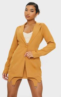 PrettyLittleThing - Mustard Woven Oversized Ring Detail Blazer, Camel