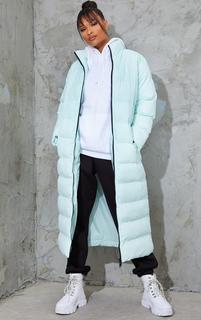 PrettyLittleThing - Mint Maxi Longline Puffer Jacket, Green