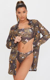 PrettyLittleThing - Brown Butterfly Chain Print Beach Shirt, Brown