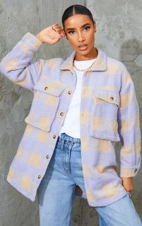 PrettyLittleThing - Lilac Checked Wool Look Oversized Shacket, Purple