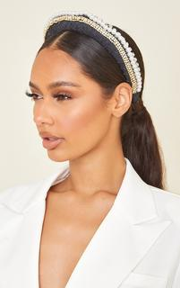 PrettyLittleThing - Black PU Double Diamante and Pearl Row Headband, Black