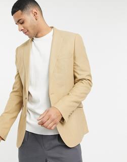 ASOS DESIGN - Wedding – Supereng geschnittene Anzug-Jacke in Camel mit Mikro-Struktur-Beige