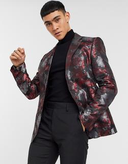 Bolongaro Trevor - Superenge Anzugjacke mit Blumenprint-Schwarz