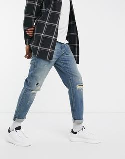 G-Star - Alum – Lockere, zerrissene und geflickte Jeans mit karottenförmigem Schnitt und mittlerer Waschung-Blau