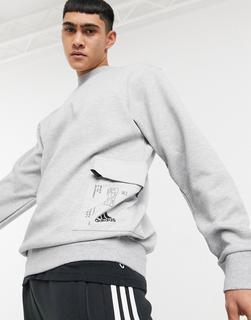 adidas Performance - adidas – Graues Sweatshirt mit Umschlagtasche