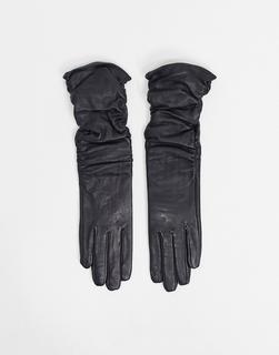 ASOS DESIGN - Lange, geraffte Touchscreen-Handschuhe aus schwarzem Leder