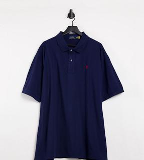 Polo Ralph Lauren - Big & Tall – Marineblaues Pikee-Polohemd mit Polospieler-Logo