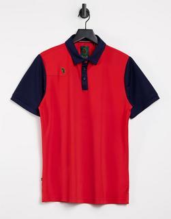 Luke - Gunnel – Polohemd mit farblich abgesetztem Kragen-Rot