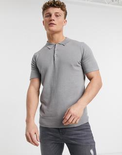 Brave Soul - Silbergraues Polohemd aus Strick