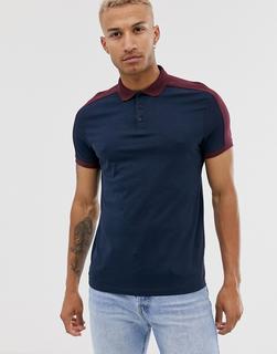 ASOS DESIGN - Marineblaues Polohemd aus Bio-Baumwolle mit kontrastierendem Schulterbesatz-Navy
