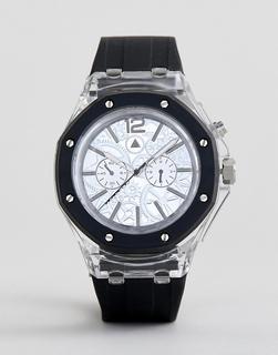 ASOS DESIGN - Transparente Oversize-Uhr mit kontrastierendem Armband und sichtbaren Zahnrädern-Weiß