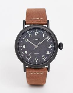Timex - Standard – 40 mm dünne Standard Lederarmbanduhr in Braun