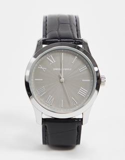 ASOS DESIGN - Klassische Uhr mit Armband in Kroko-Optik in Schwarz
