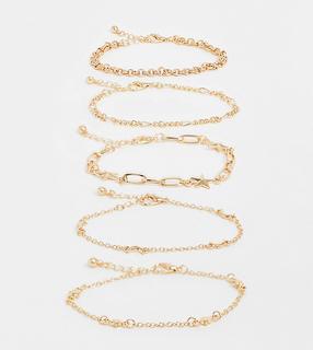 Reclaimed Vintage - Inspired – Stars and Moon – Verschiedene goldfarbene Armbänder im Multipack