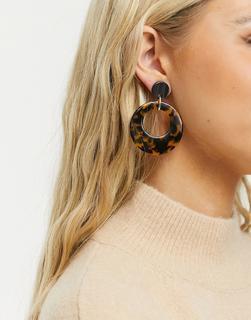 Pilgrim - Ohrringe mit flachem Ring-Design in Schildpattmuster, vergoldet